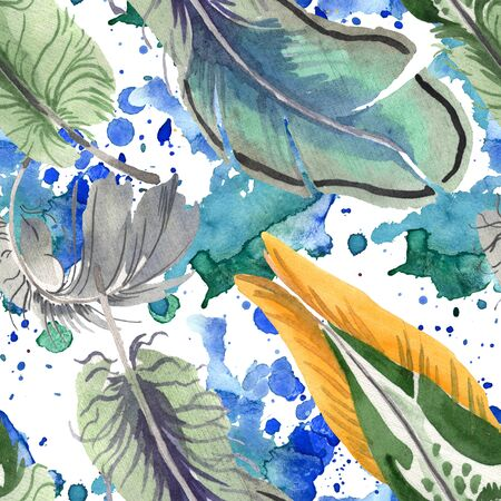 bird feather from wing isolated. Aquarelle feather for background, texture, wrapper pattern, frame or border. Seamless background pattern. Fabric wallpaper print texture.