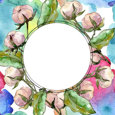 Cotton floral botanical flower. Wild spring leaf wildflower isolated.  background illustration set. Watercolour drawing fashion aquarelle isolated. Frame border ornament square.