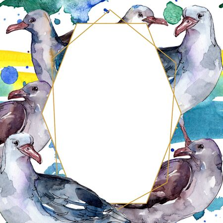 Sky bird seagull in a wildlife isolated. Wild freedom, bird with a flying wings.  background illustration set. Watercolour drawing fashion aquarelle. Frame border ornament square. Zdjęcie Seryjne