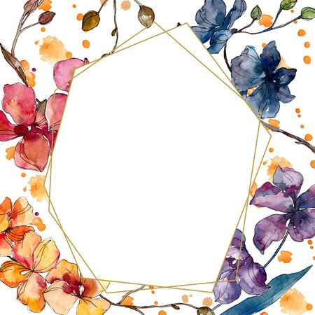 Orchid floral botanical flowers. Wild spring leaf wildflower isolated.  background illustration set. Watercolour drawing fashion aquarelle. Frame border crystal ornament square. 写真素材