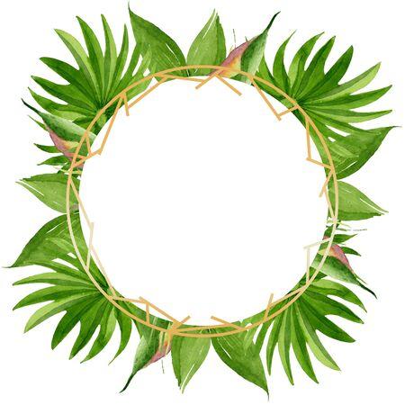 Exotic tropical hawaiian summer. Palm beach tree leaves jungle botanical.  background illustration set. Watercolour drawing fashion aquarelle. Frame border crystal ornament square. 写真素材