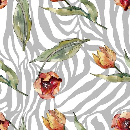 Red tulip floral botanical flower. Wild spring leaf wildflower.  illustration set. Watercolour drawing fashion aquarelle. Seamless background pattern. Fabric wallpaper print texture.