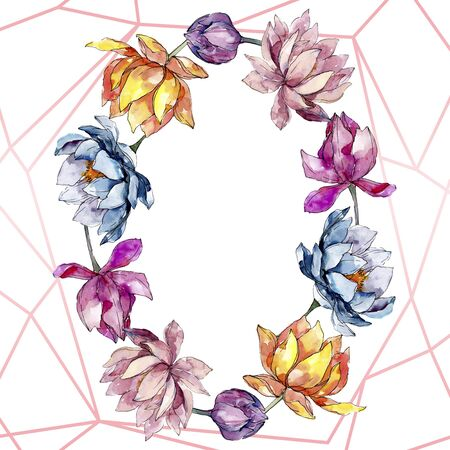 Lotus floral botanical flowers. Wild spring leaf wildflower isolated.  background illustration set. Watercolour drawing fashion aquarelle isolated. Frame border crystal ornament square.