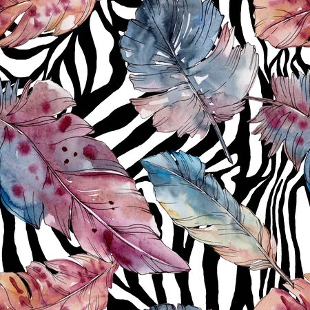 Colorful bird feather from wing isolated.  background illustration set. Watercolour drawing fashion aquarelle isolated. Seamless background pattern. Fabric wallpaper print texture. Stock fotó