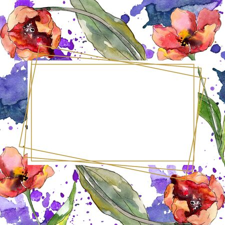 Red tulip floral botanical flower. Wild spring leaf wildflower isolated.  background illustration set. Watercolour drawing fashion aquarelle. Frame border crystal ornament square. 스톡 콘텐츠