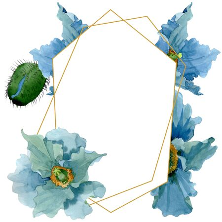 Blue poppy floral botanical flowers. Wild spring leaf wildflower isolated.  background illustration set. Watercolour drawing fashion aquarelle isolated. Frame border crystal ornament square. 写真素材