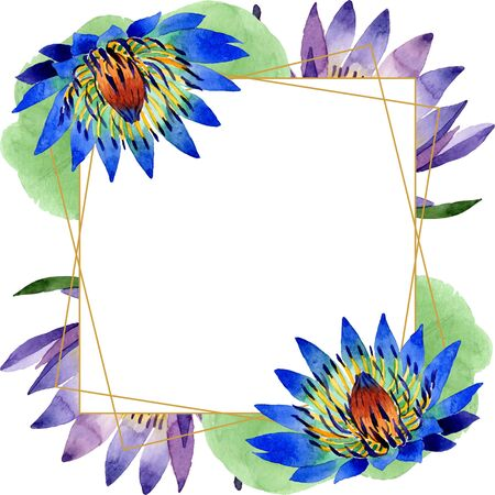Blue lotus floral botanical flowers. Wild spring leaf wildflower isolated.  background illustration set. Watercolour drawing fashion aquarelle. Frame border crystal ornament square. 写真素材