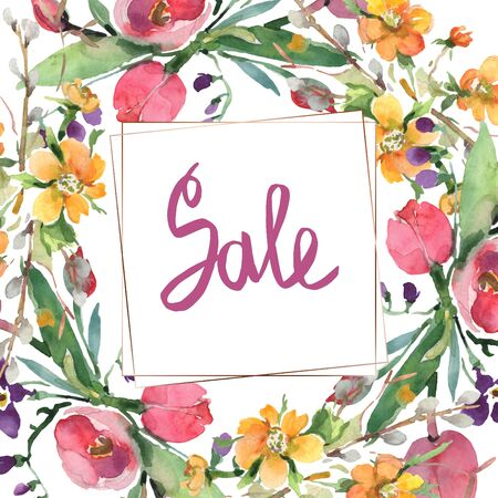 Bouquet floral botanical flowers. Wild spring leaf wildflower isolated.  background illustration set. Watercolour drawing fashion aquarelle isolated. Frame border ornament square. 写真素材