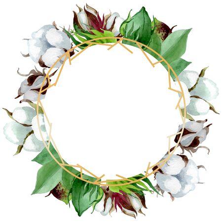 White cotton floral botanical flower. Wild spring leaf wildflower.  background illustration set. Watercolour drawing fashion aquarelle. Frame border crystal ornament square.