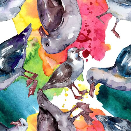 Sky bird seagull in a wildlife. Wild freedom, bird with a flying wings.  illustration set. Watercolour drawing fashion aquarelle. Seamless background pattern. Fabric wallpaper print texture. Standard-Bild - 131383088