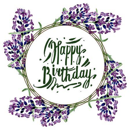Violet lavender floral botanical flower. Wild spring leaf wildflower isolated.  background illustration set. Watercolour drawing fashion aquarelle isolated. Frame border ornament square. Banco de Imagens