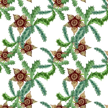 Green cactus floral botanical flower. Wild spring leaf wildflower.  illustration set. Watercolour drawing fashion aquarelle. Seamless background pattern. Fabric wallpaper print texture. Stock fotó - 131382476