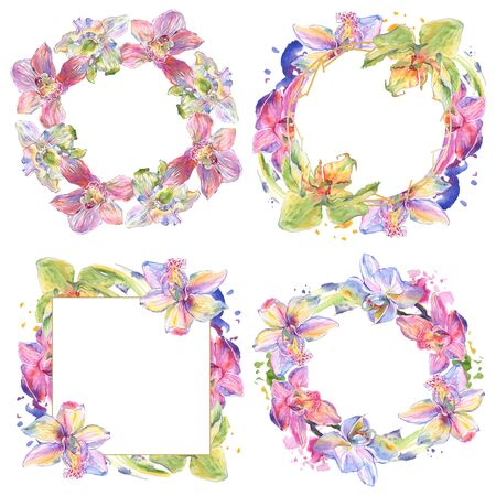 Orchid floral botanical flowers. Wild spring leaf wildflower isolated.  background illustration set. Watercolour drawing fashion aquarelle isolated. Frame border ornament square. Stock Photo