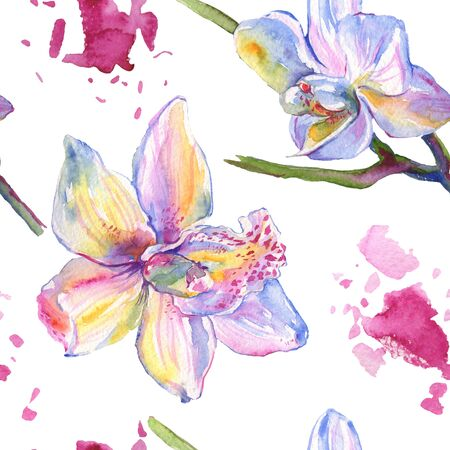 Orchid floral botanical flowers. Wild spring leaf wildflower.  illustration set. Watercolour drawing fashion aquarelle. Seamless background pattern. Fabric wallpaper print texture.