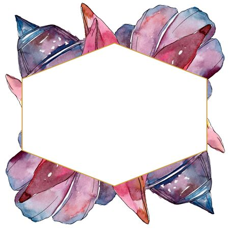 Summer beach seashell tropical elements.  background illustration set. Watercolour drawing fashion aquarelle isolated. Frame border ornament square.
