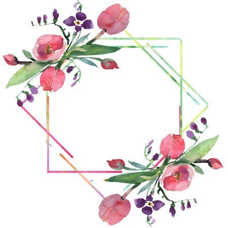 花束の花の植物の花。野生の春の葉野生の花が孤立しています。背景イラストセット。水彩画のファッションアクアレルは隔離されています。枠の枠の飾り付けの四角形。