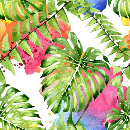 Exotic tropical hawaiian summer. Palm beach tree leaves.  illustration set. Watercolour drawing fashion aquarelle. Seamless background pattern. Fabric wallpaper print texture. Stock fotó