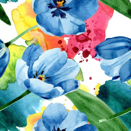 Blue tulip floral botanical flowers. Wild spring leaf wildflower.  illustration set. Watercolour drawing fashion aquarelle. Seamless background pattern. Fabric wallpaper print texture. Imagens