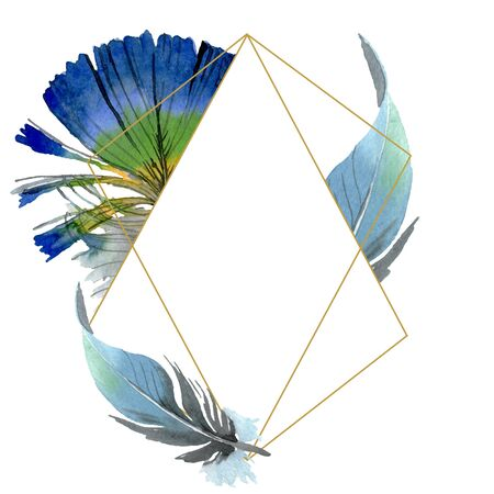 Bird feather from wing isolated.  background illustration set. Watercolour drawing fashion aquarelle isolated. Frame border crystal ornament square. Standard-Bild - 131356362