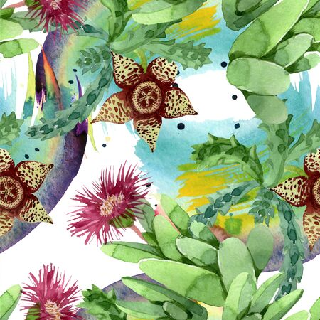Green cactus floral botanical flower. Wild spring leaf wildflower.  illustration set. Watercolour drawing fashion aquarelle. Seamless background pattern. Fabric wallpaper print texture.