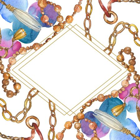 Golden chains sketch illustration in a  style element. Clothes accessories aqurelle set trendy vogue outfit. Watercolour background illustration set. Frame border ornament square.