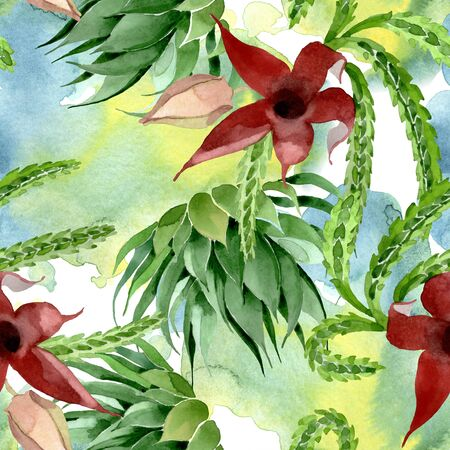 Green cactus floral botanical flower. Wild spring leaf wildflower. Watercolor illustration set. Watercolour drawing fashion aquarelle. Seamless background pattern. Fabric wallpaper print texture.