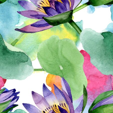 Blue lotus floral botanical flowers. Wild spring leaf wildflower.  illustration set. Watercolour drawing fashion aquarelle. Seamless background pattern. Fabric wallpaper print texture. Stock Photo