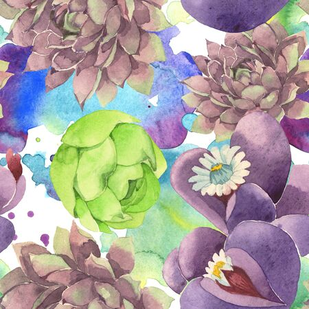 Succulent floral botanical flower. Wild spring leaf wildflower.  illustration set. Watercolour drawing fashion aquarelle. Seamless background pattern. Fabric wallpaper print texture.
