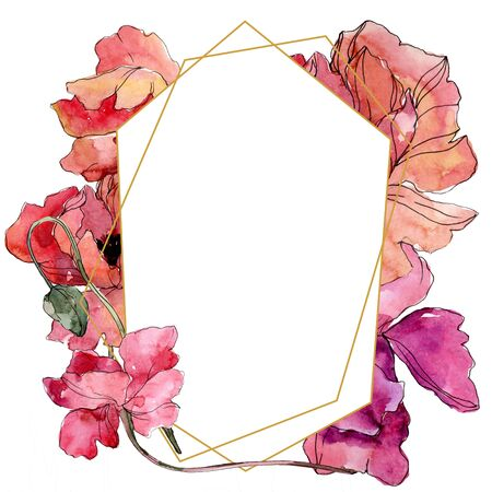 Poppy floral botanical flower. Wild spring leaf wildflower isolated.  background illustration set. Watercolour drawing fashion aquarelle. Frame border crystal ornament square.