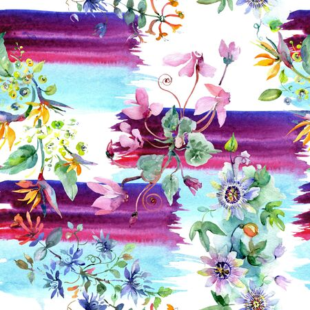 Bouquet floral botanical flowers. Wild spring leaf wildflower.  illustration set. Watercolour drawing fashion aquarelle. Seamless background pattern. Fabric wallpaper print texture. Stock Photo