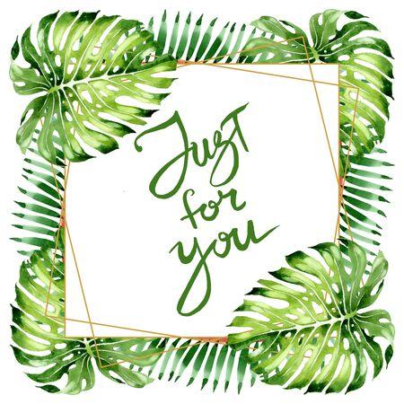 Exotic tropical hawaiian summer. Palm beach tree leaves jungle botanical.  background illustration set. Watercolour drawing fashion aquarelle isolated. Frame border ornament square.