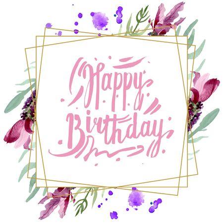 Purple lavender floral botanical flowers. Wild spring leaf wildflower.  background illustration set. Watercolour drawing fashion aquarelle. Frame border crystal ornament square. 스톡 콘텐츠