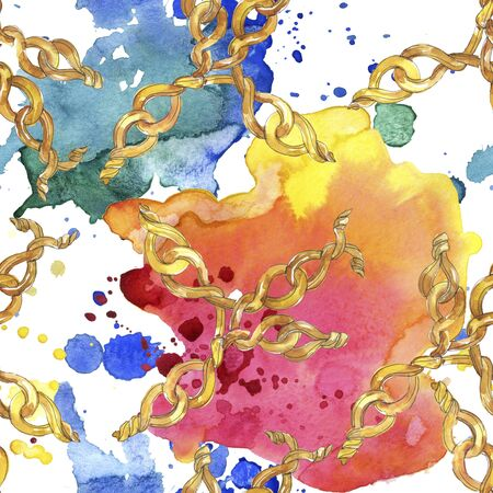 Golden chains sketch glamour illustration in a  style element. Clothes accessories aqurelle set trendy vogue outfit. Watercolour seamless background pattern. Fabric wallpaper print texture.