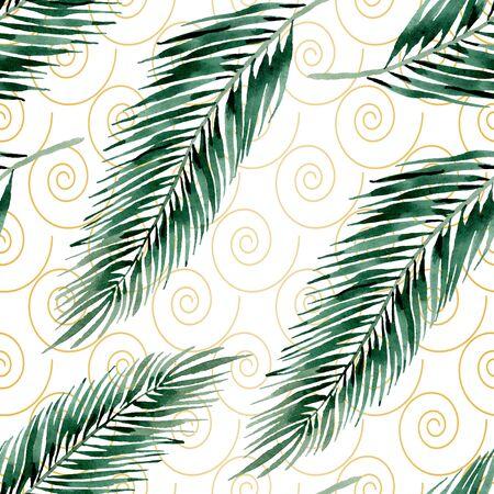 Exotic hawaiian summer. Palm beach tree leaves jungle botanical.  illustration set. Watercolour drawing fashion aquarelle. Seamless background pattern. Fabric wallpaper print texture. Stock fotó