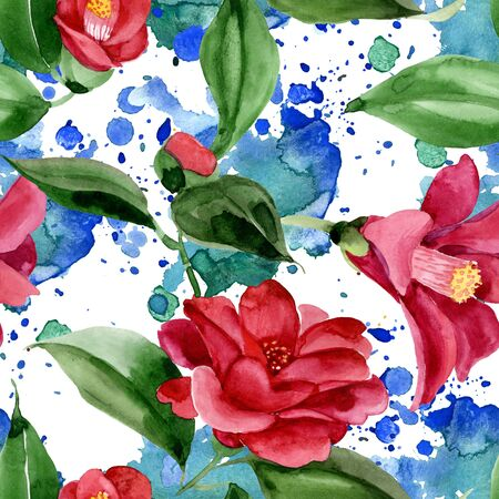 Red camelia floral botanical flower. Wild spring leaf wildflower.  illustration set. Watercolour drawing fashion aquarelle. Seamless background pattern. Fabric wallpaper print texture.