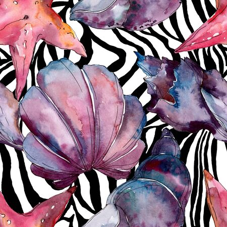 Summer beach seashell tropical elements.  background illustration set. Watercolour drawing fashion aquarelle isolated. Seamless background pattern. Fabric wallpaper print texture.