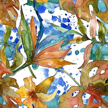 Exotic tropical hawaiian summer. Palm beach tree leaves jungle flower.  illustration set. Watercolour drawing fashion aquarelle. Seamless background pattern. Fabric wallpaper print texture.