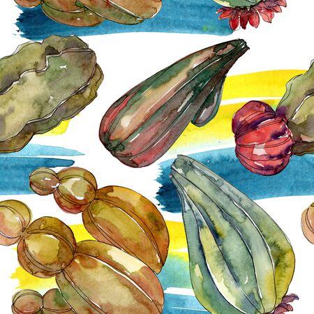 Cactus floral botanical flowers. Wild spring leaf wildflower. Watercolor illustration set. Watercolour drawing fashion aquarelle. Seamless background pattern. Fabric wallpaper print texture. 版權商用圖片