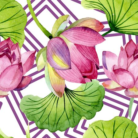 Pink lotus floral botanical flowers. Wild spring leaf wildflower.  illustration set. Watercolour drawing fashion aquarelle. Seamless background pattern. Fabric wallpaper print texture.