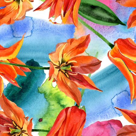 Orange tulip floral botanical flower. Wild spring leaf wildflower.  illustration set. Watercolour drawing fashion aquarelle. Seamless background pattern. Fabric wallpaper print texture.