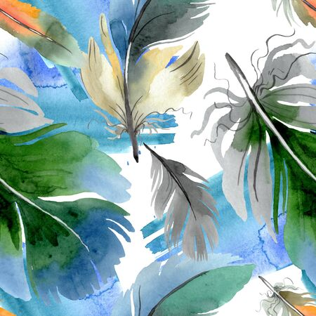 Colorful bird feather from wing isolated.  background illustration set. Watercolour drawing fashion aquarelle isolated. Seamless background pattern. Fabric wallpaper print texture. Banco de Imagens