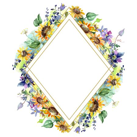 Bouquet with sunflowers floral botanical flowers. Wild spring leaf wildflower isolated.  background illustration set. Watercolour drawing fashion aquarelle. Frame border ornament square. Stok Fotoğraf