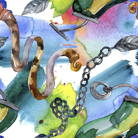 Golden chain belt sketch illustration. Clothes accessories set trendy outfit.  set. Watercolour drawing fashion aquarelle. Seamless background pattern. Fabric wallpaper print texture. 版權商用圖片