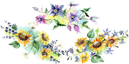 Bouquet with sunflowers floral botanical flowers. Wild spring leaf wildflower.  background illustration set. Watercolour drawing fashion aquarelle. Isolated bouquets illustration element.