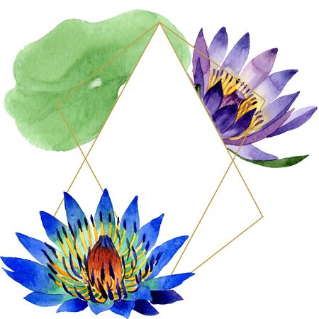 Blue lotus floral botanical flowers. Wild spring leaf wildflower isolated.  background illustration set. Watercolour drawing fashion aquarelle. Frame border crystal ornament square. Zdjęcie Seryjne