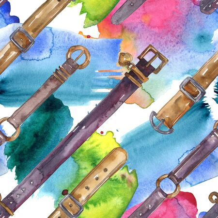 Leather belt sketch fashion glamour illustration in a  style. Clothes accessories set. Watercolour drawing fashion aquarelle. Seamless background pattern. Fabric wallpaper print texture.
