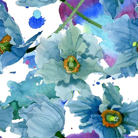 Blue poppy floral botanical flowers. Wild spring leaf wildflower.  illustration set. Watercolour drawing fashion aquarelle. Seamless background pattern. Fabric wallpaper print texture.