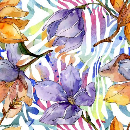 Camelia floral botanical flowers. Wild spring leaf wildflower.  illustration set. Watercolour drawing fashion aquarelle. Seamless background pattern. Fabric wallpaper print texture.