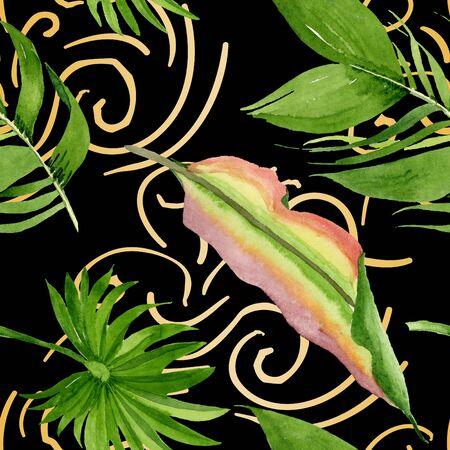 Exotic hawaiian summer. Palm beach tree leaves jungle botanical.  illustration set. Watercolour drawing fashion aquarelle. Seamless background pattern. Fabric wallpaper print texture. Фото со стока