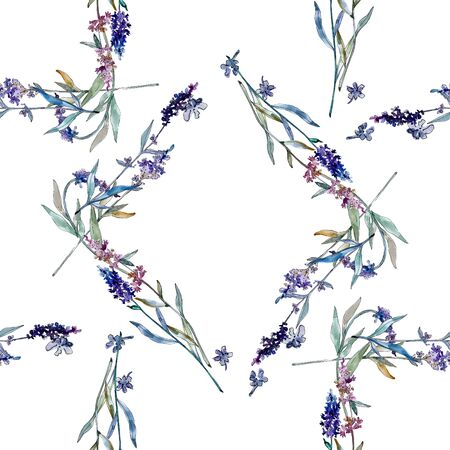 Lavender floral botanical flowers. Wild spring leaf wildflower isolated.  background illustration set. Watercolour drawing fashion aquarelle isolated. Frame border ornament square. Stok Fotoğraf